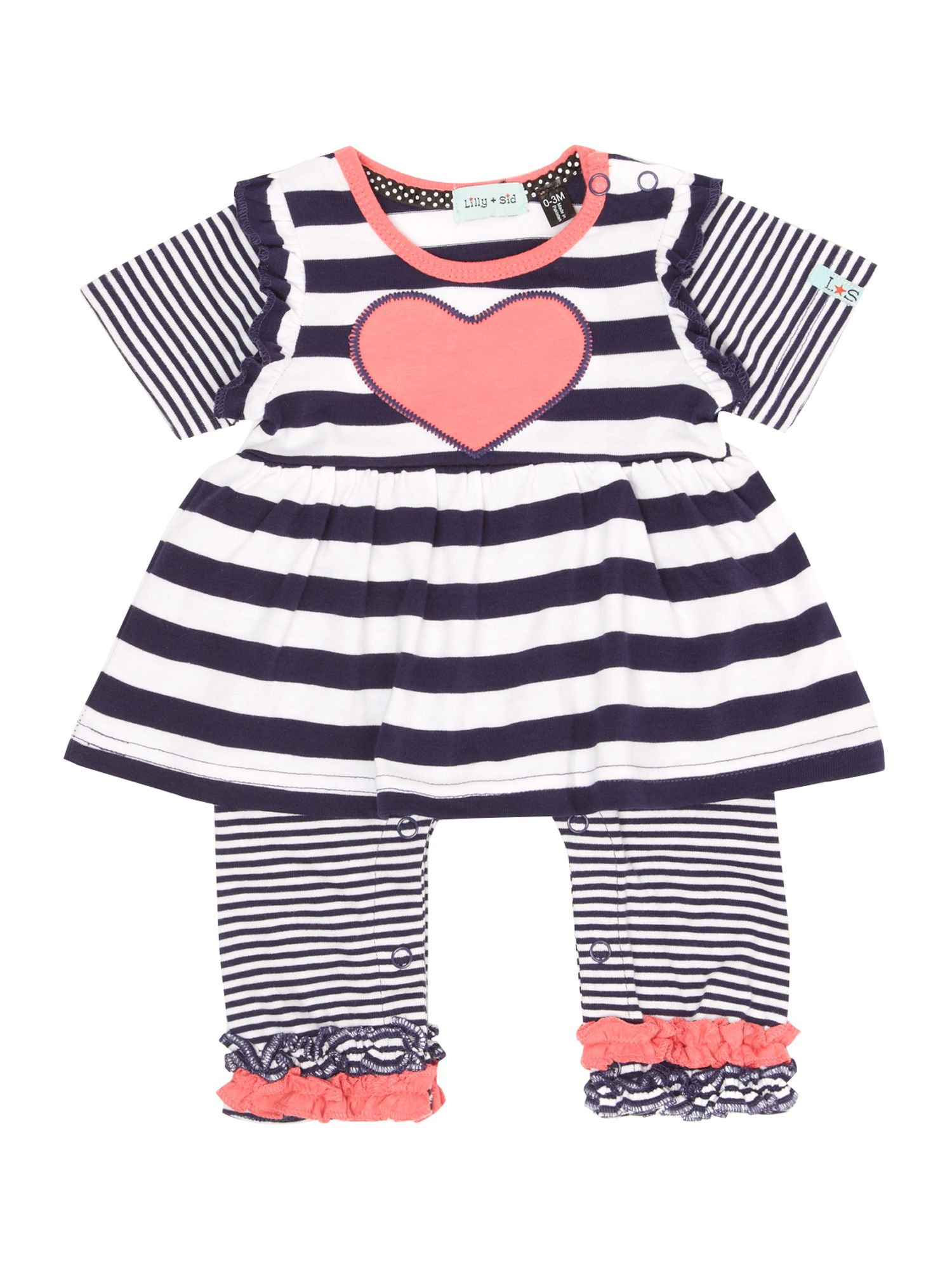 Baby girl heart stripe all in one dress
