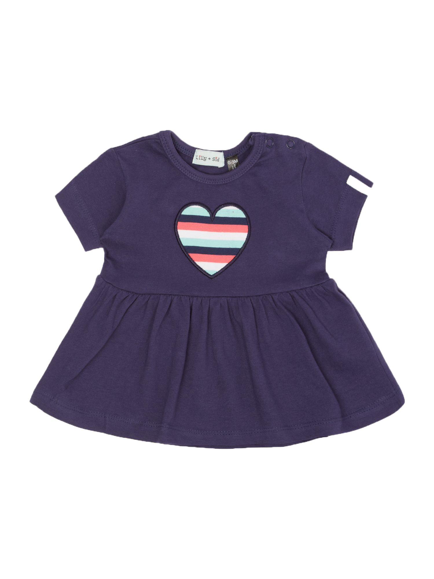 Baby girl jersey stripe heart dress