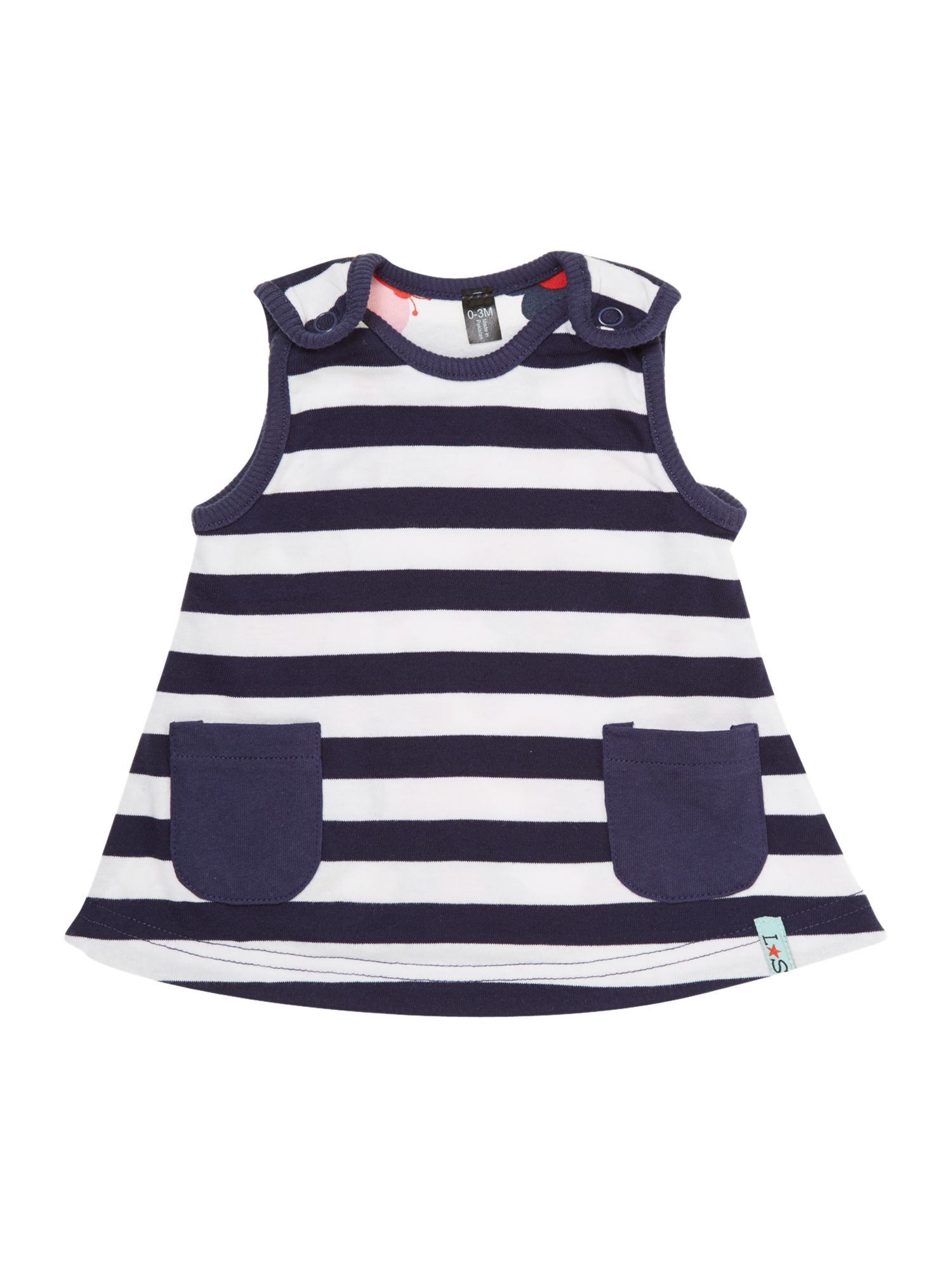 Baby girl reversible stripe and butterfly dress
