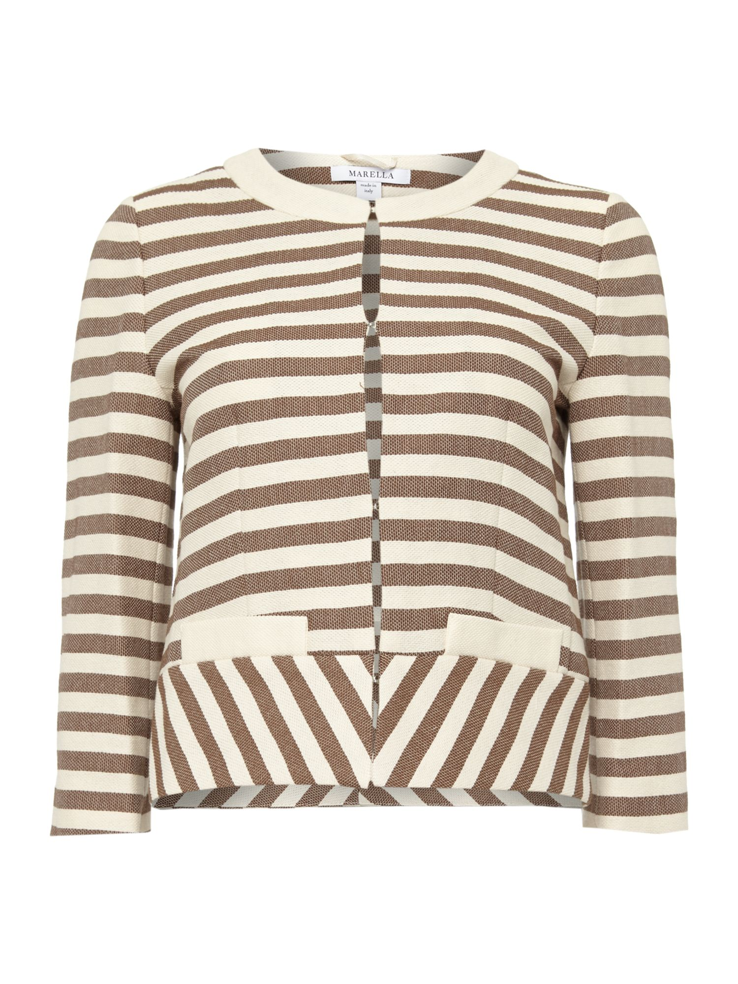 Kabir striped long sleeved boucle jacket