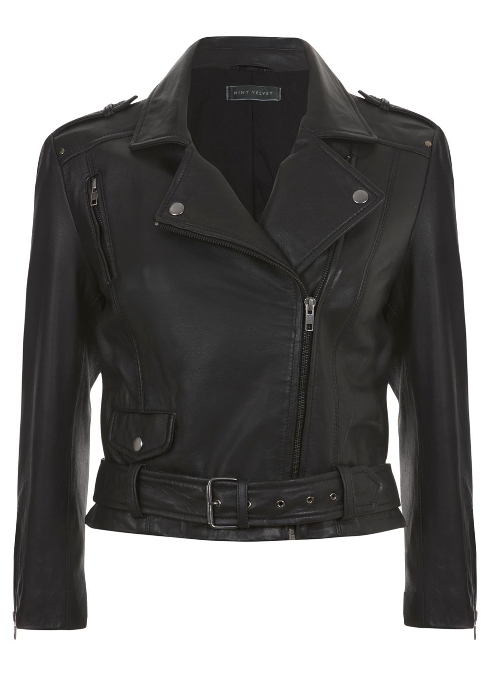 Black Cropped Leather Biker Jacket