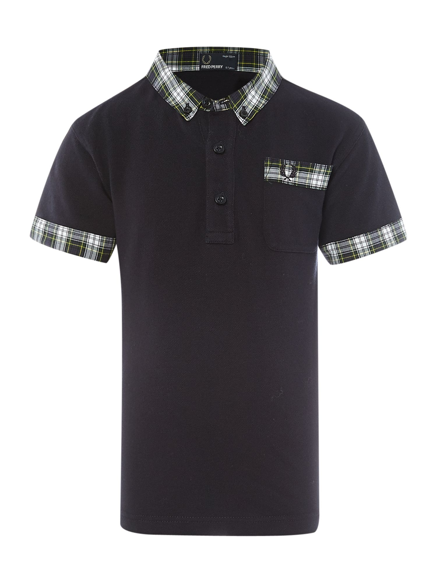Woven check collar polo shirt