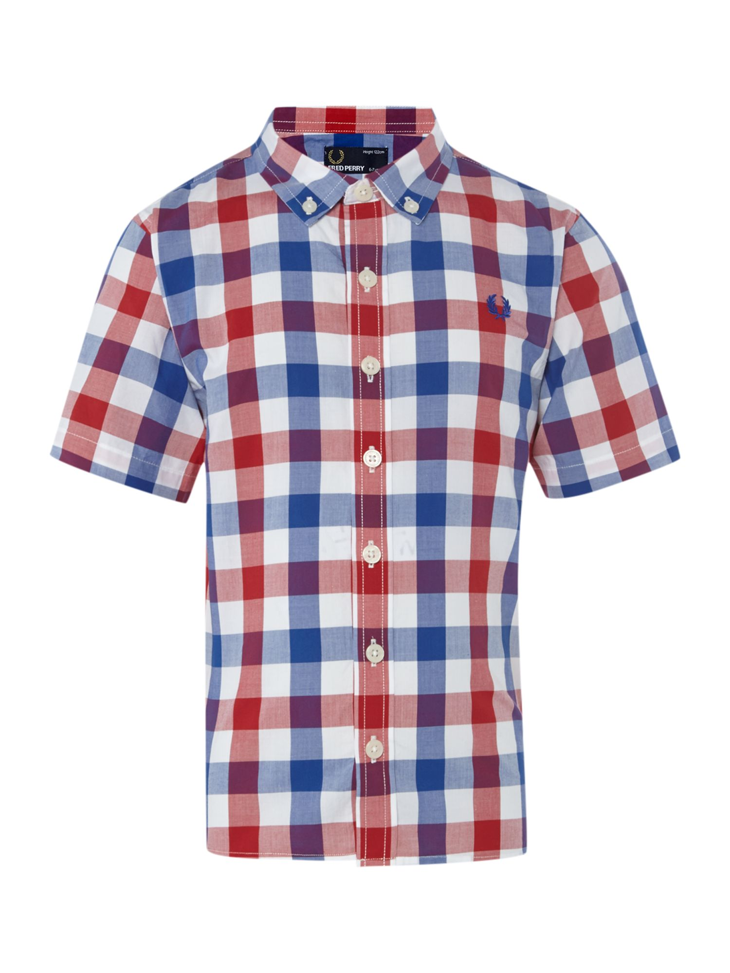 Boys short-sleeved checked shirt