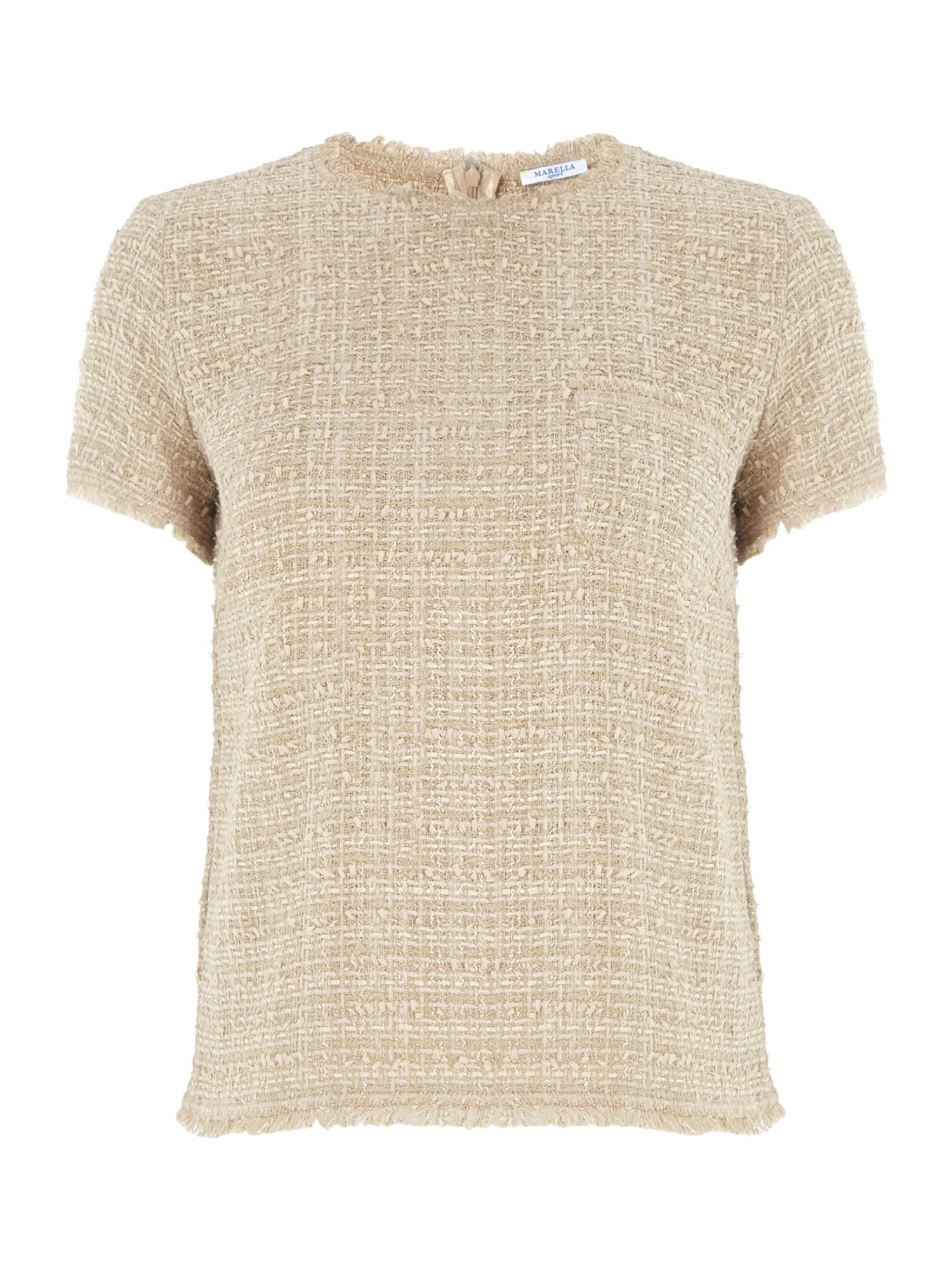 Elam short sleeved boucle top with pockets
