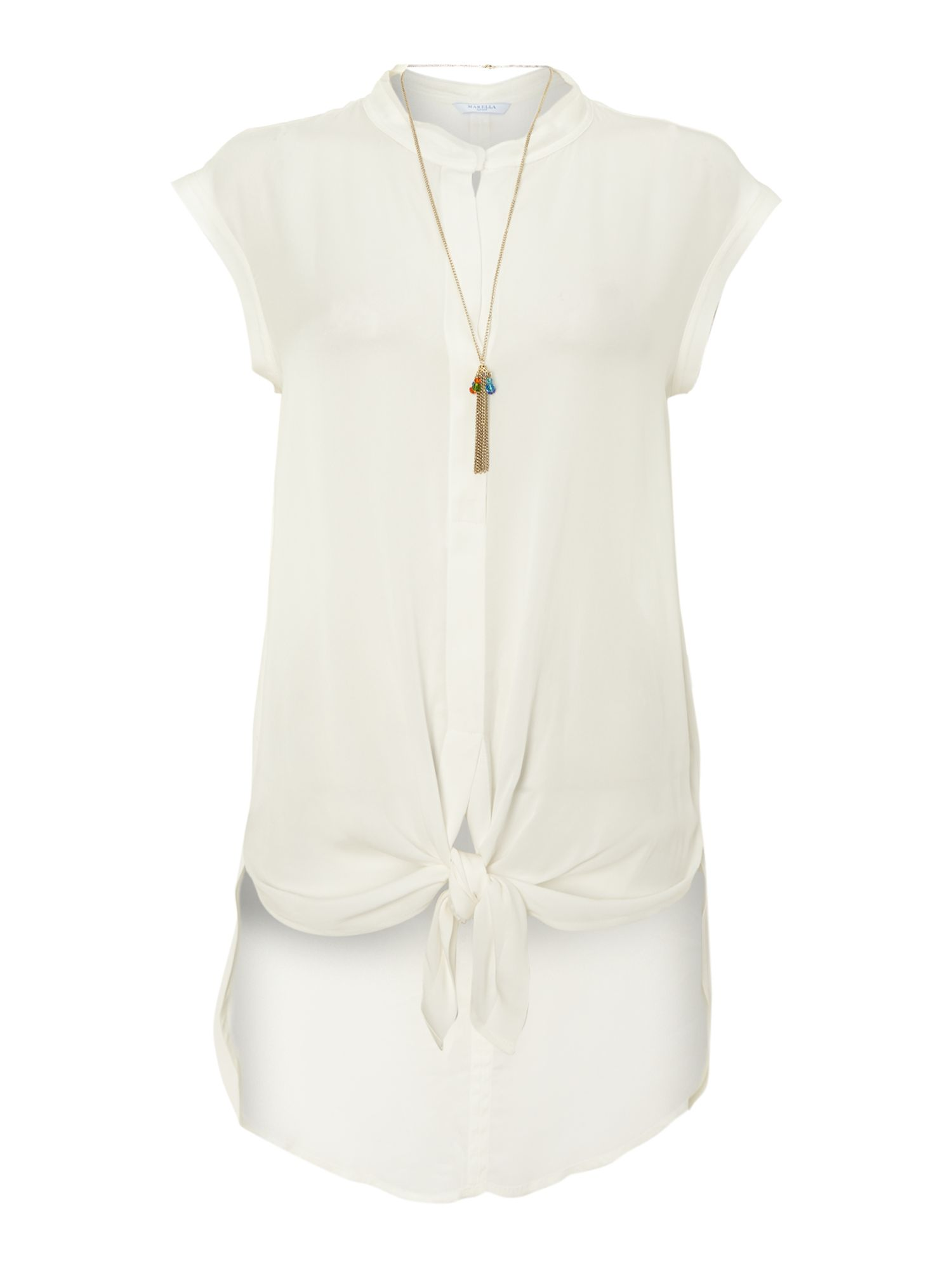 Susy sleeveless shirt with tie front