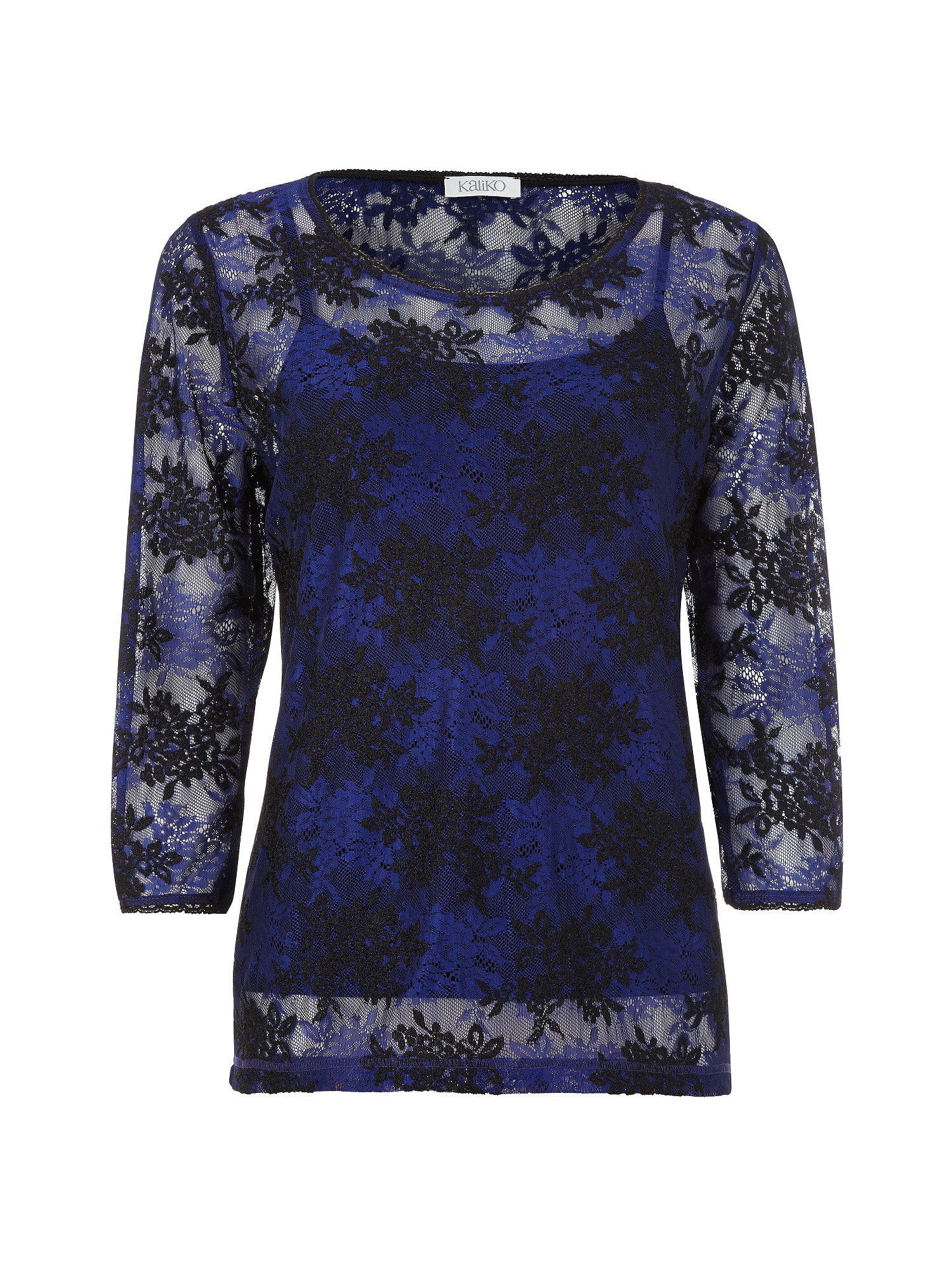 Cobalt & black lace top