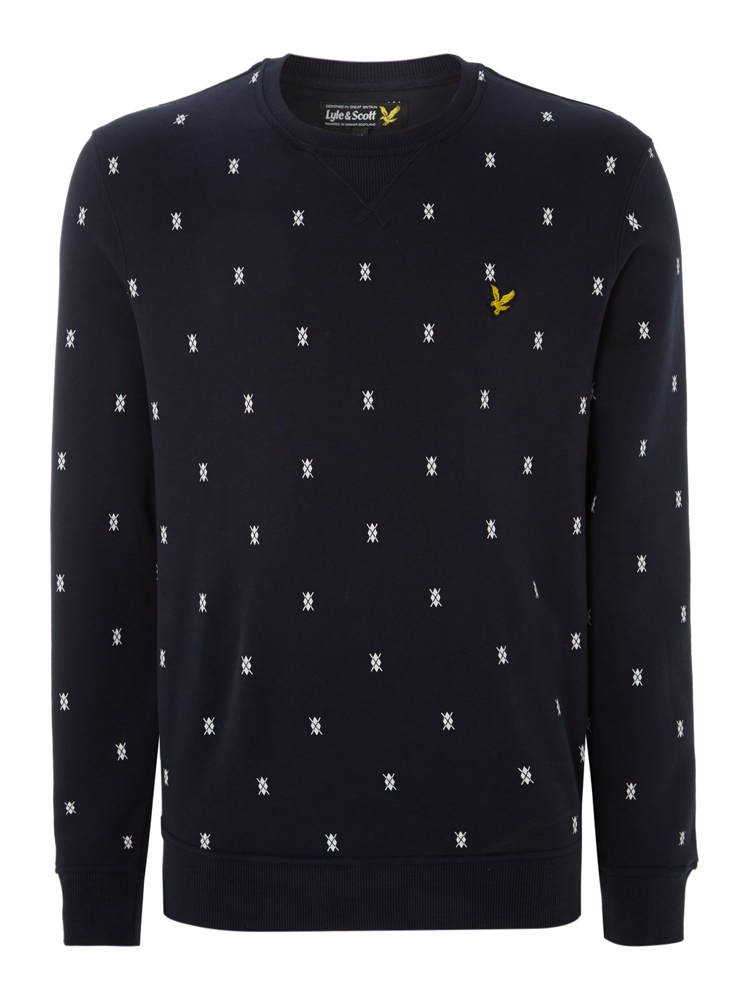 Micro argyle printed sweat shirt
