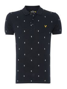 Micro printed argyle polo