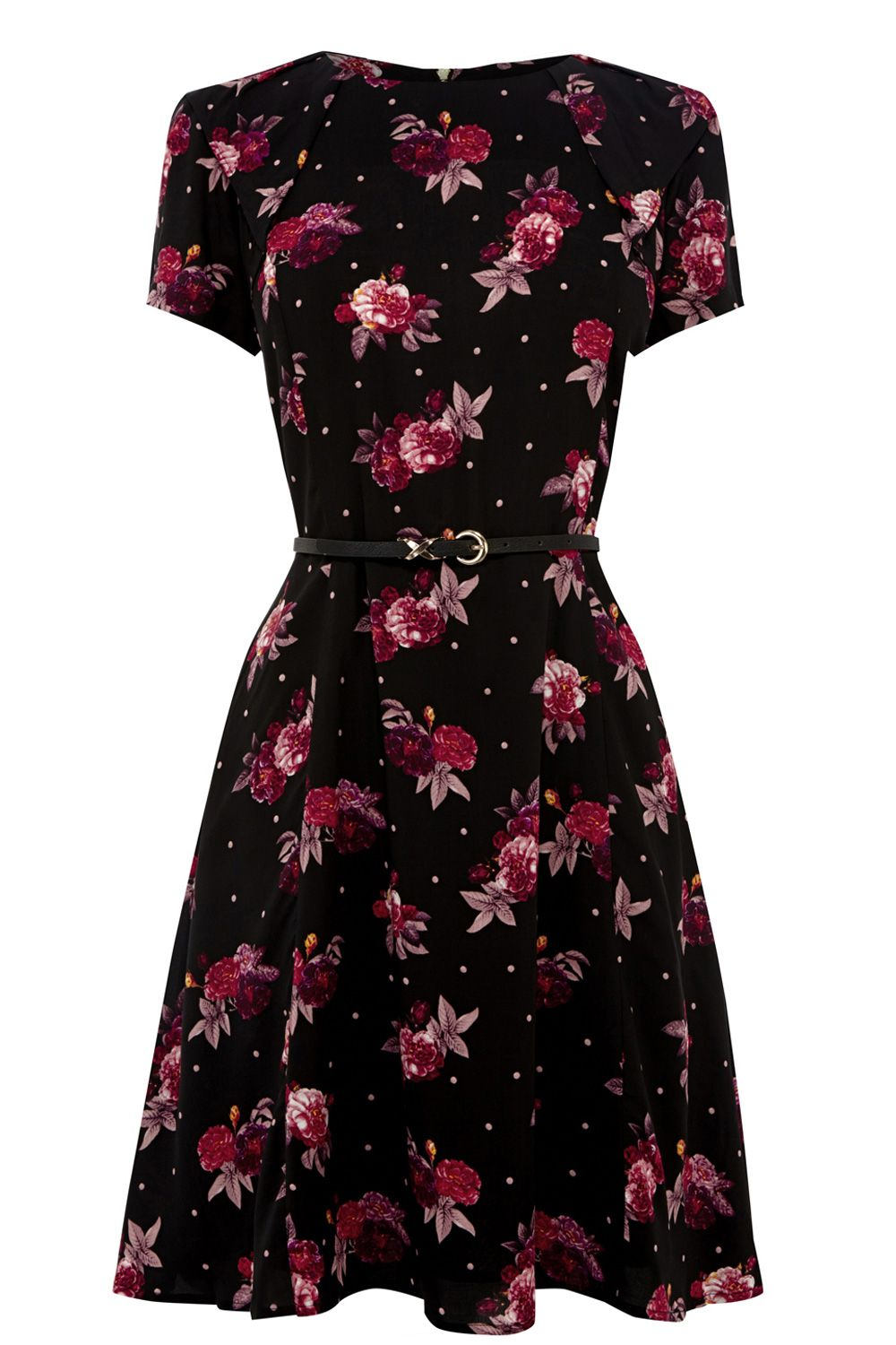 Rose dot viscose dress