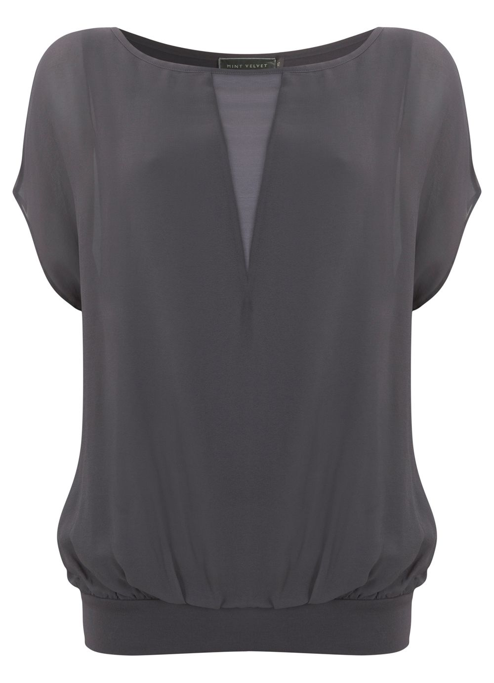 Slate sheer blouson top