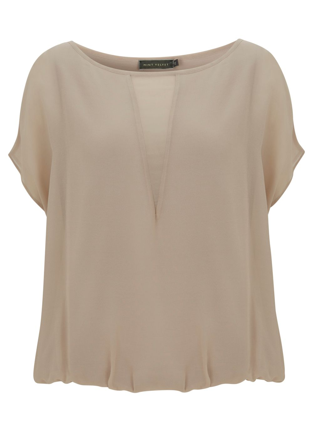Putty sheer blouson top