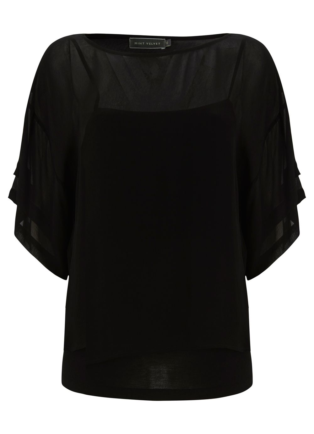 Black pleat sleeve top