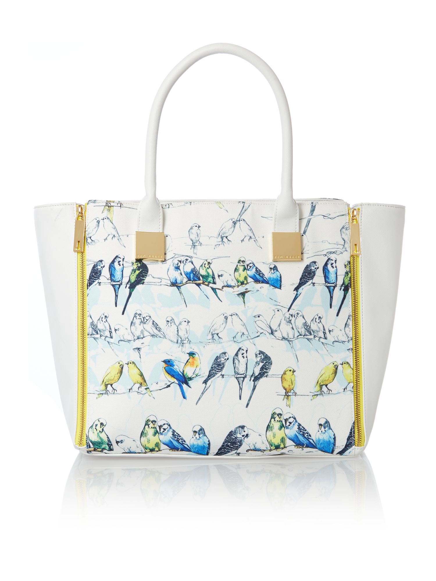 Blue large bird zip tote bag