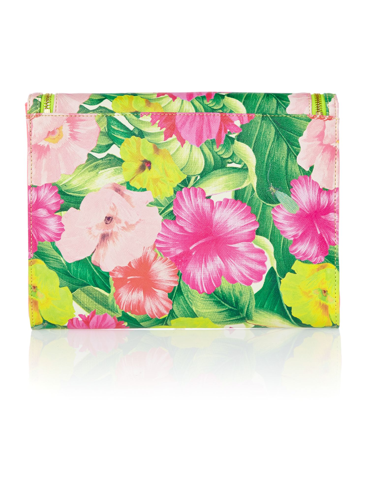 Floral medium zip clutch bag