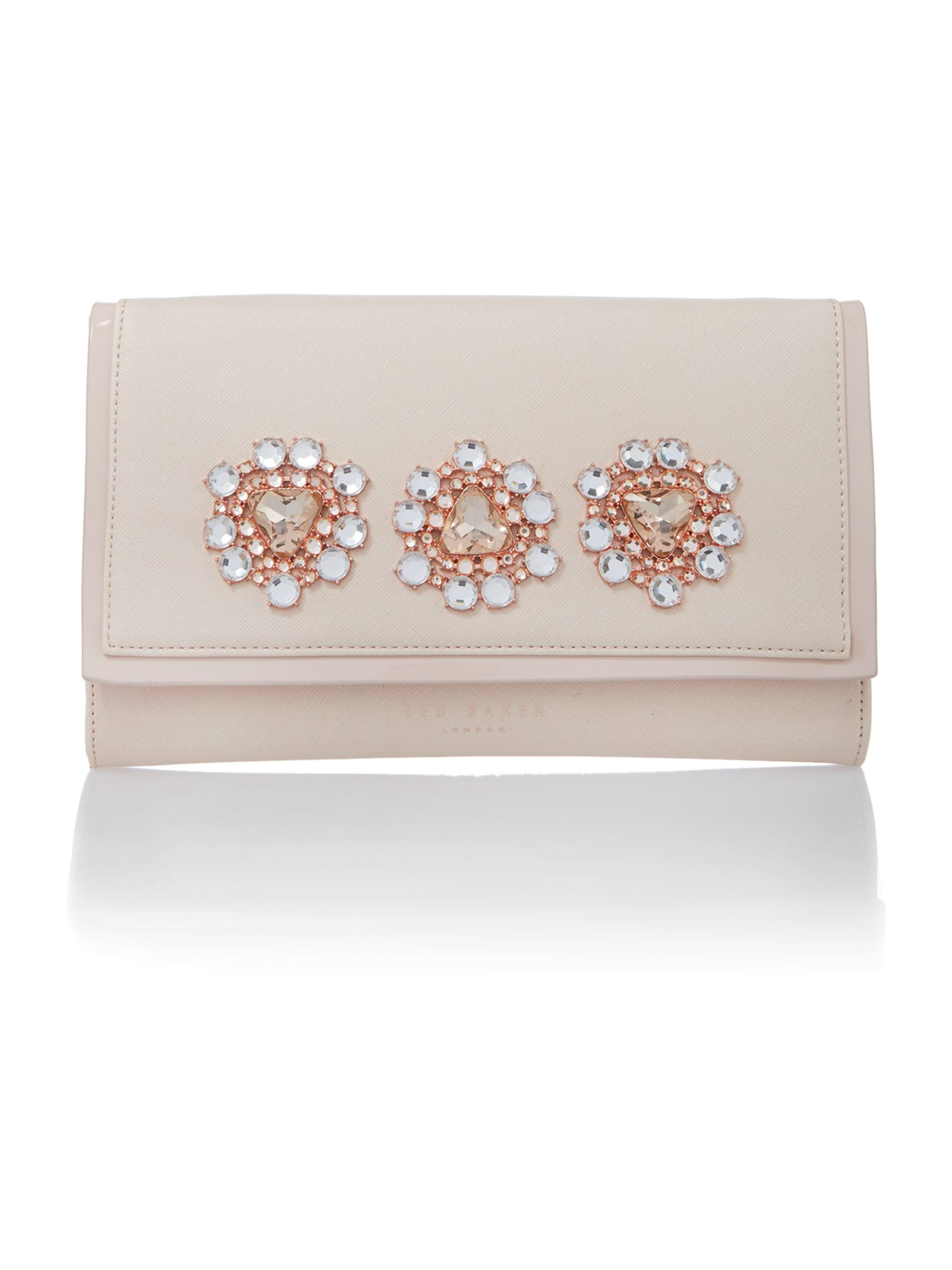 Nude medium jewel clutch bag