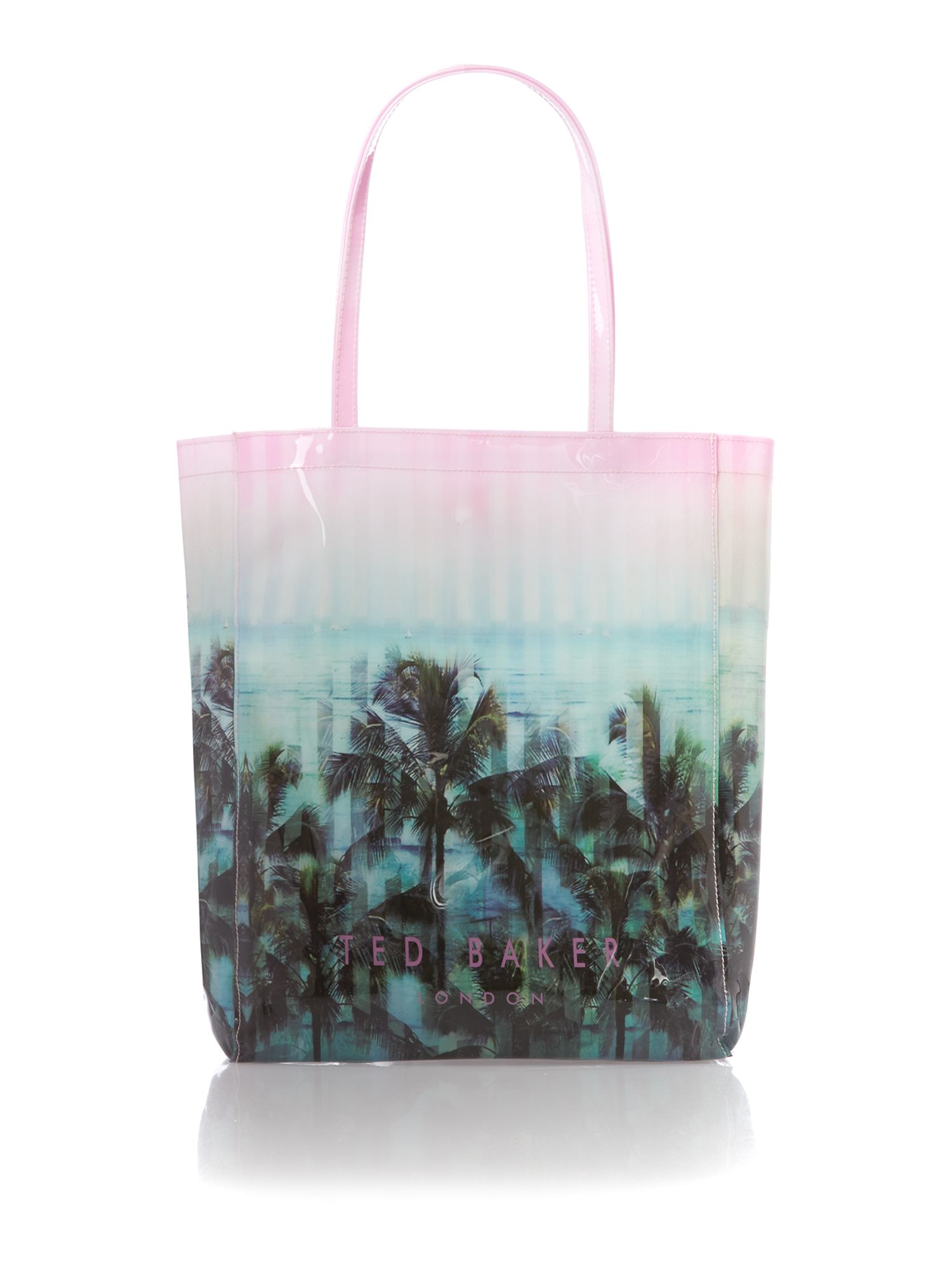 Multi coloured large palm print tote bag
