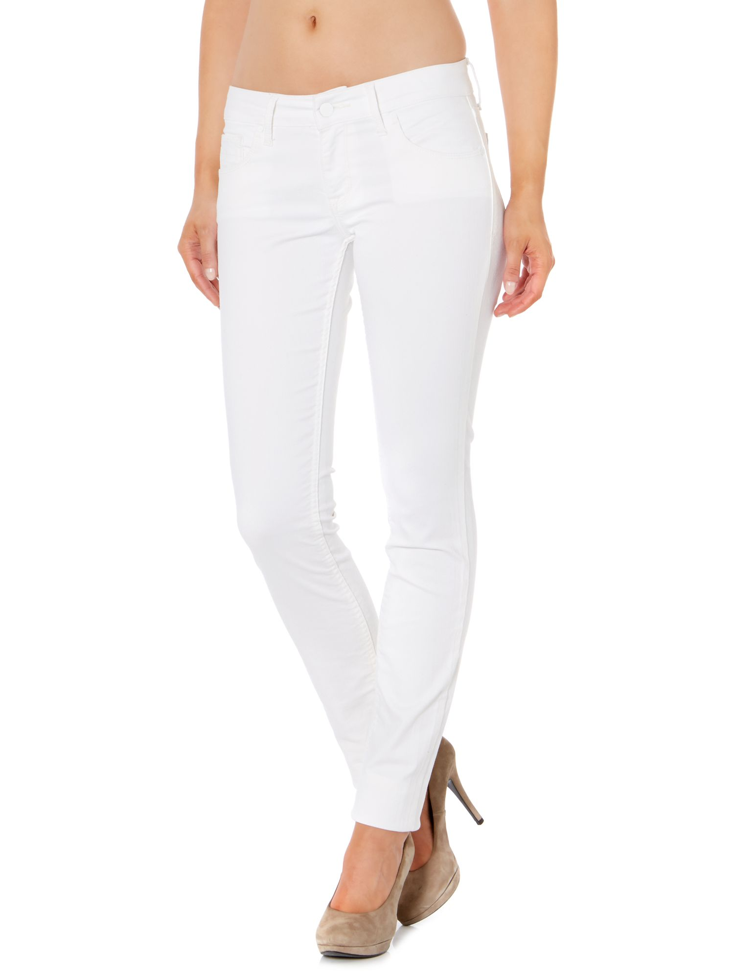 Slim mid rise pencil leg jean