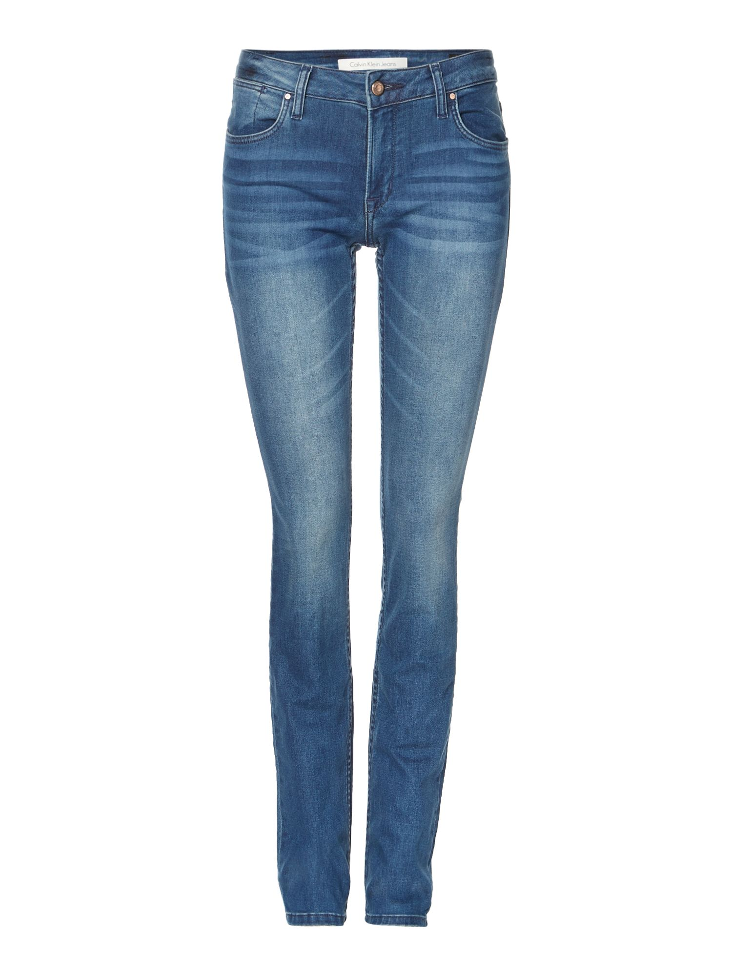 Slim mid rise pencil leg