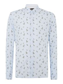 Shacklow bird print long sleeved shirt