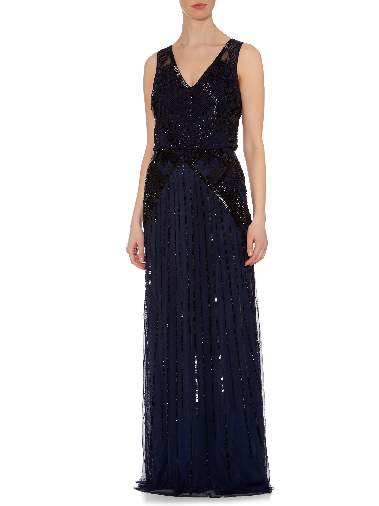 Long V Neck Blousson Gown