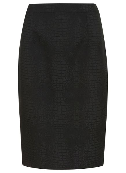 Mint Velvet Black animal pencil skirt