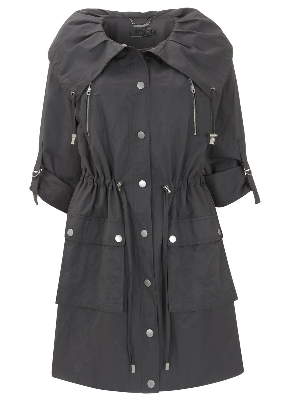 Slate pleat collar parka