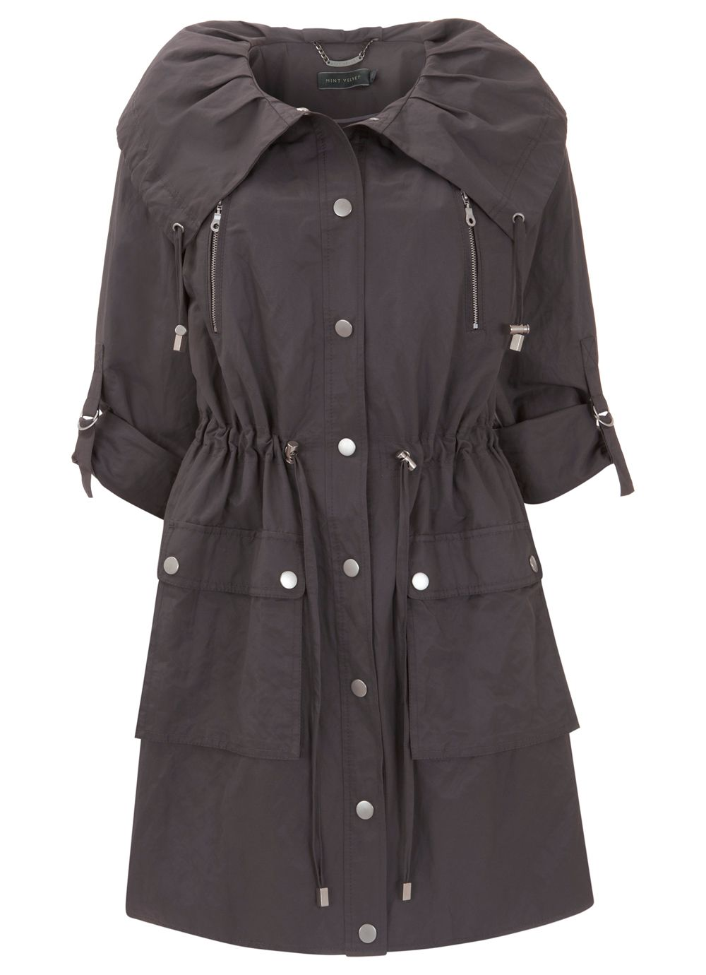 Mocha pleat collar parka