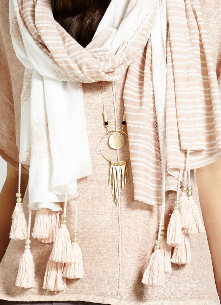 Putty & ivory stripe scarf