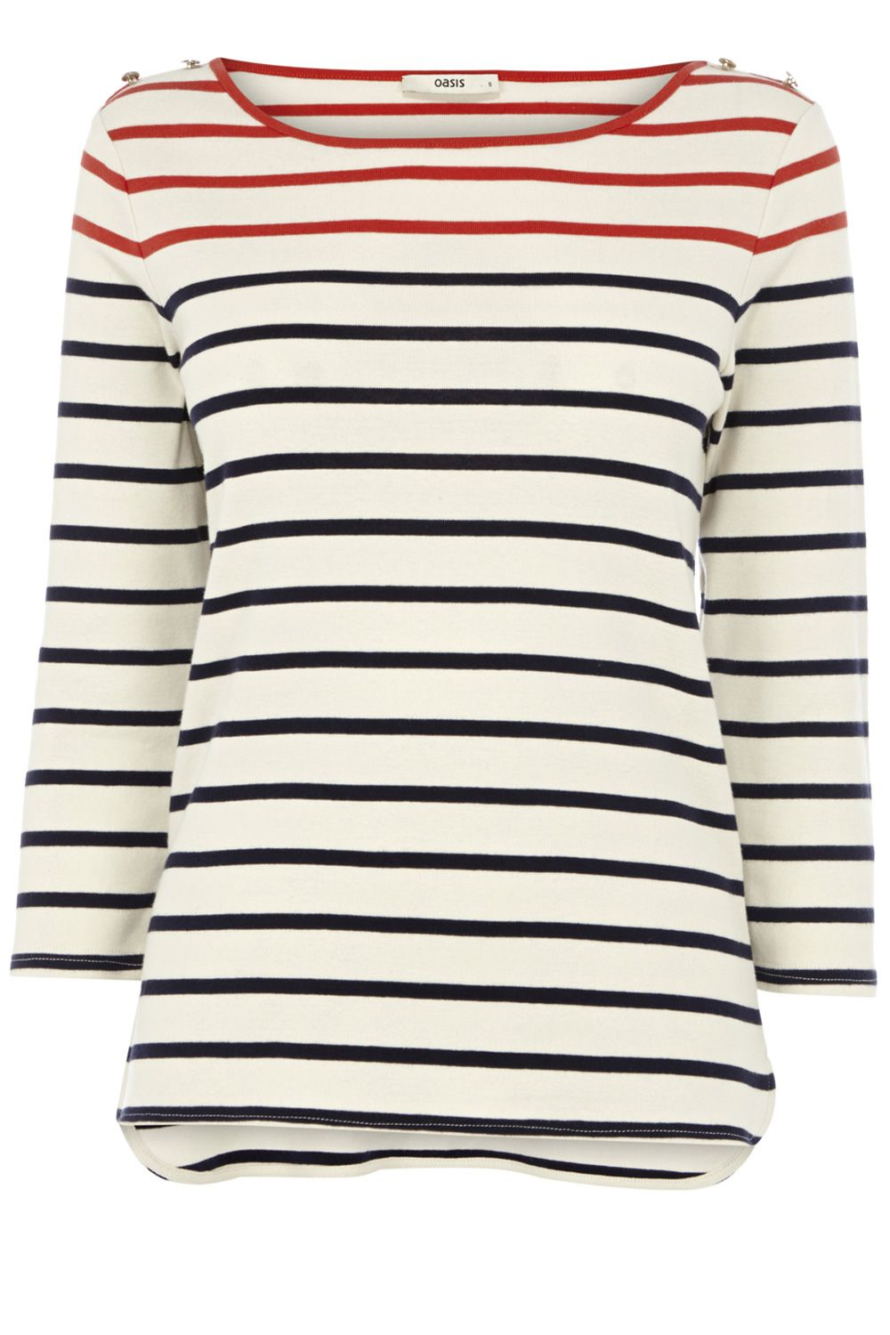 Stripe cotton Breton 3/4 sleeve top