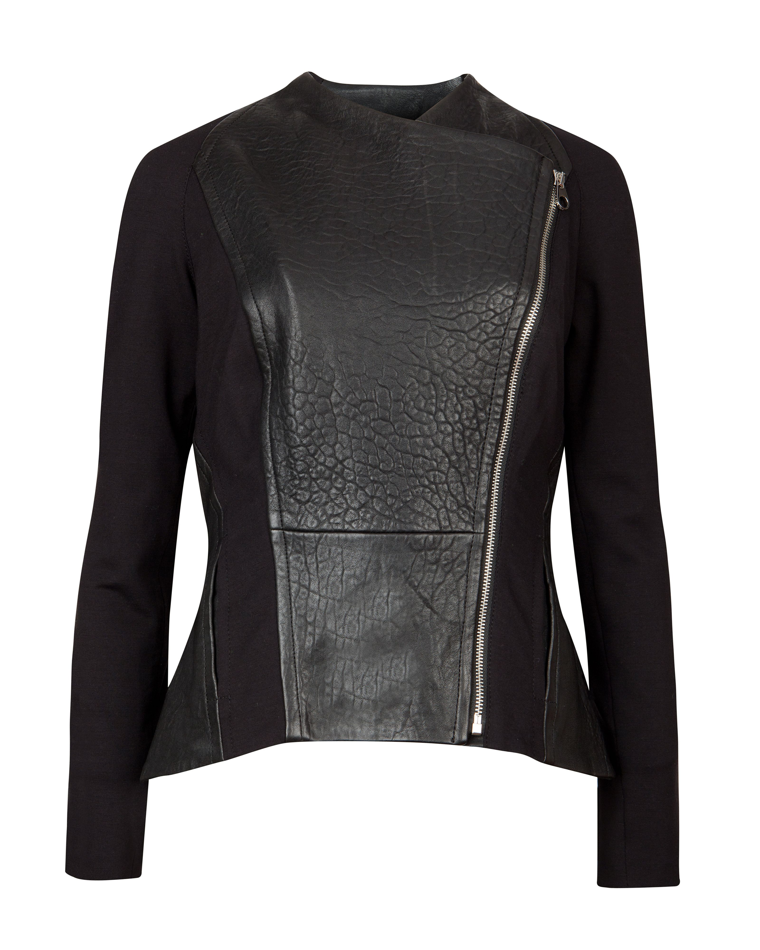 Meyaa panelled biker jacket