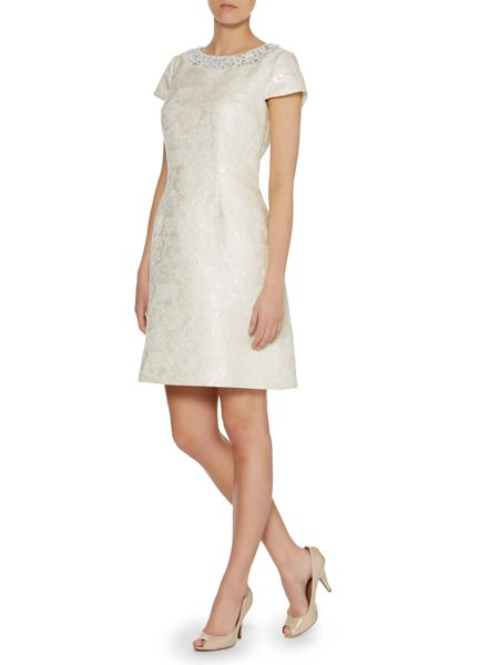 Untold Cap sleeve jacquard dress with necklace