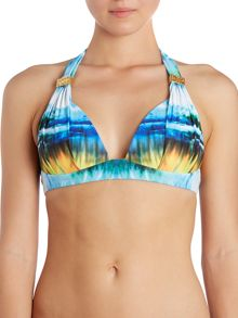 Goddess heat wave moulded halter bikini top
