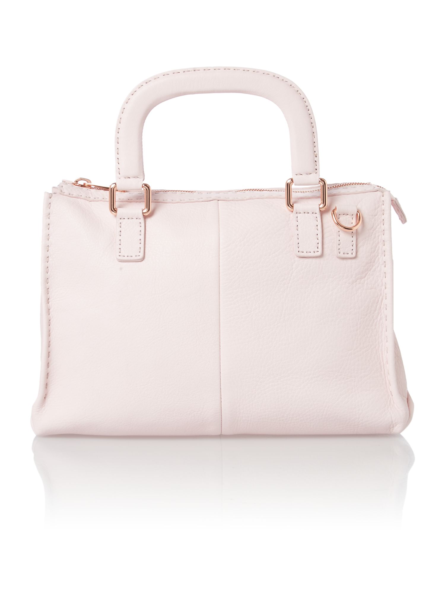 Pale pink medium leather tote