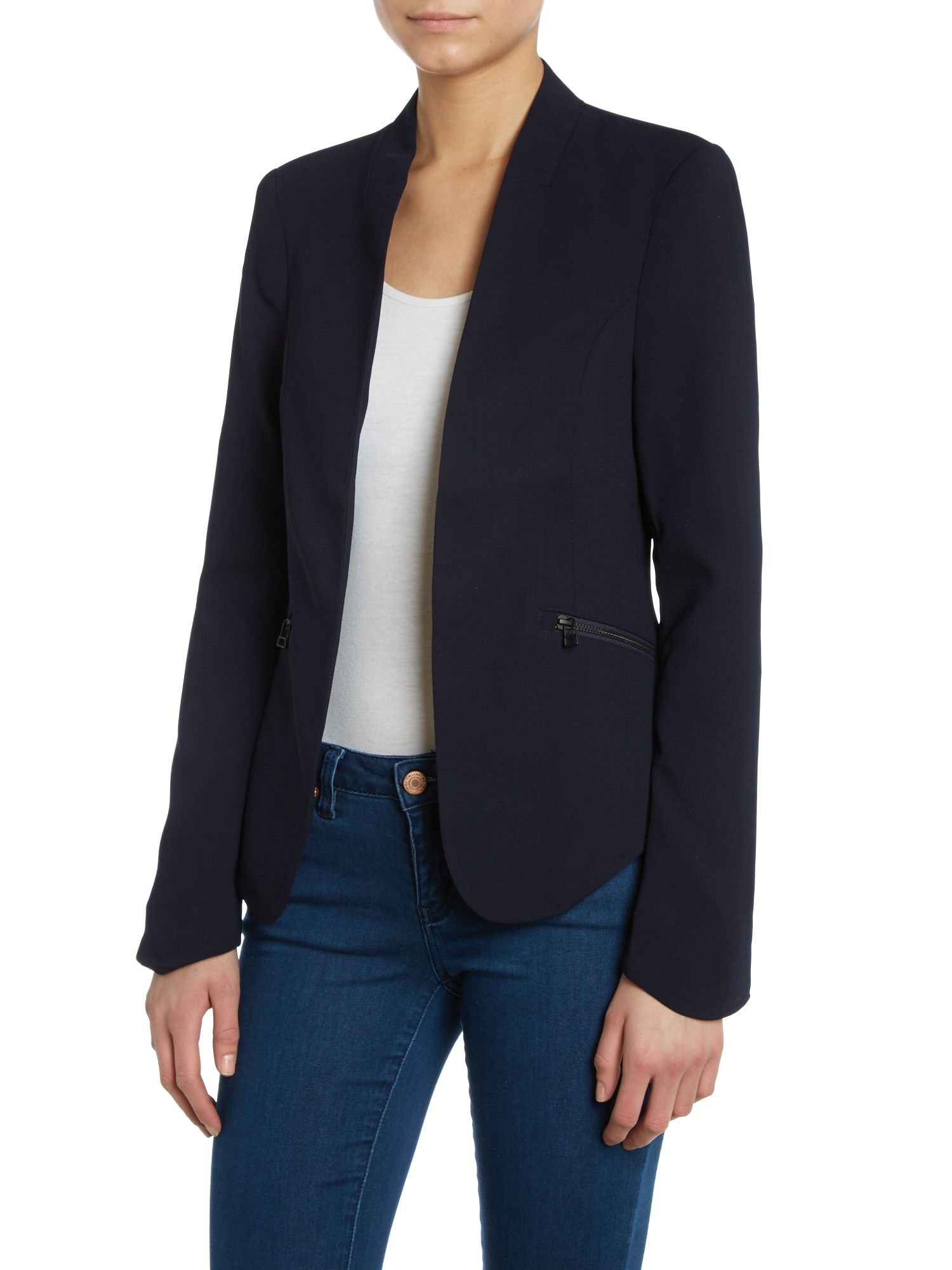 Brio collarless blazer