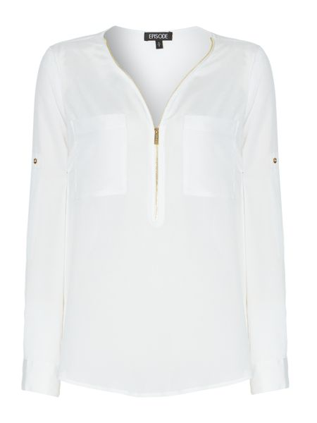Episode Zip front long sleeve blouse