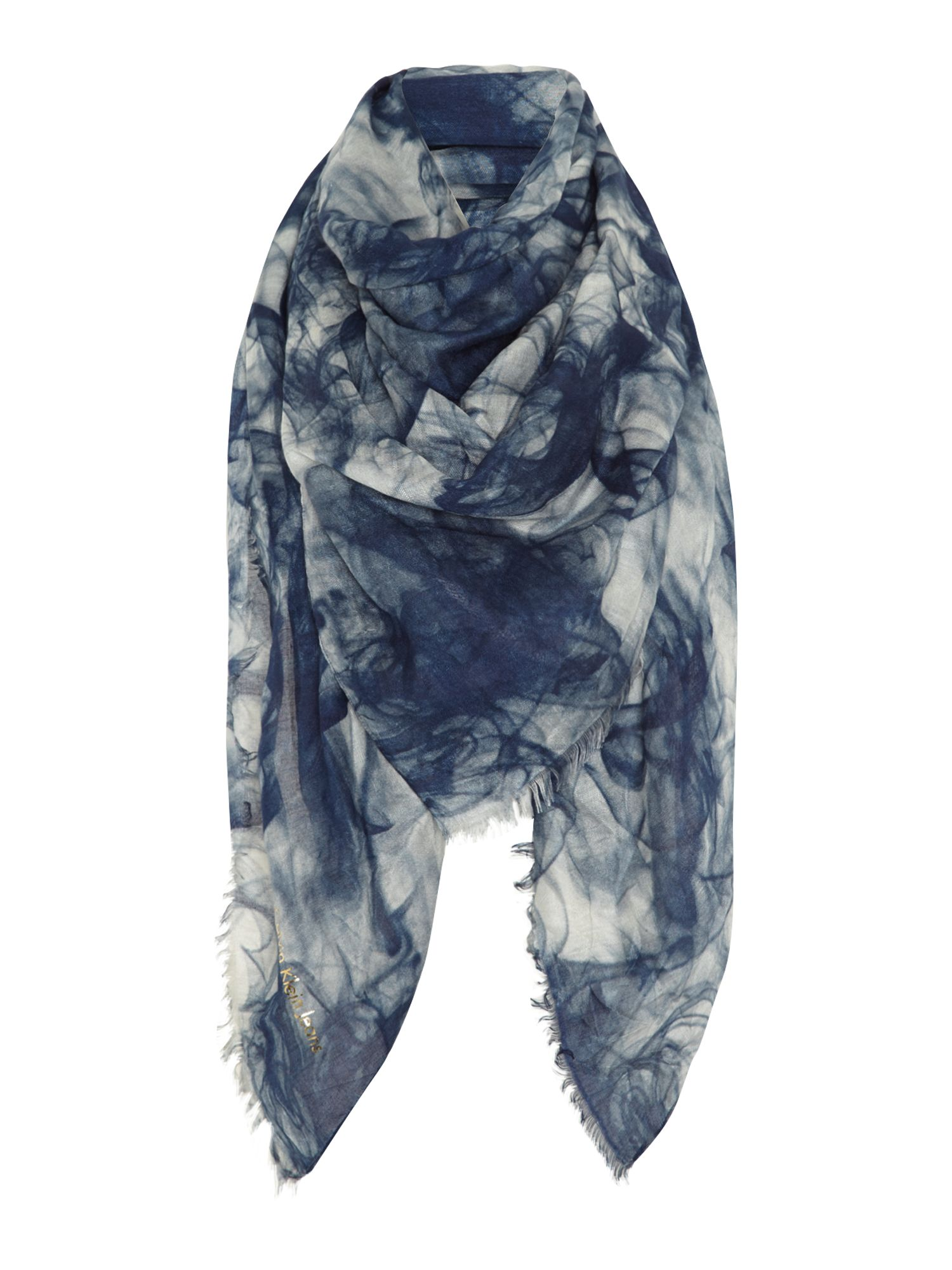 Printed scarf with frayed edge