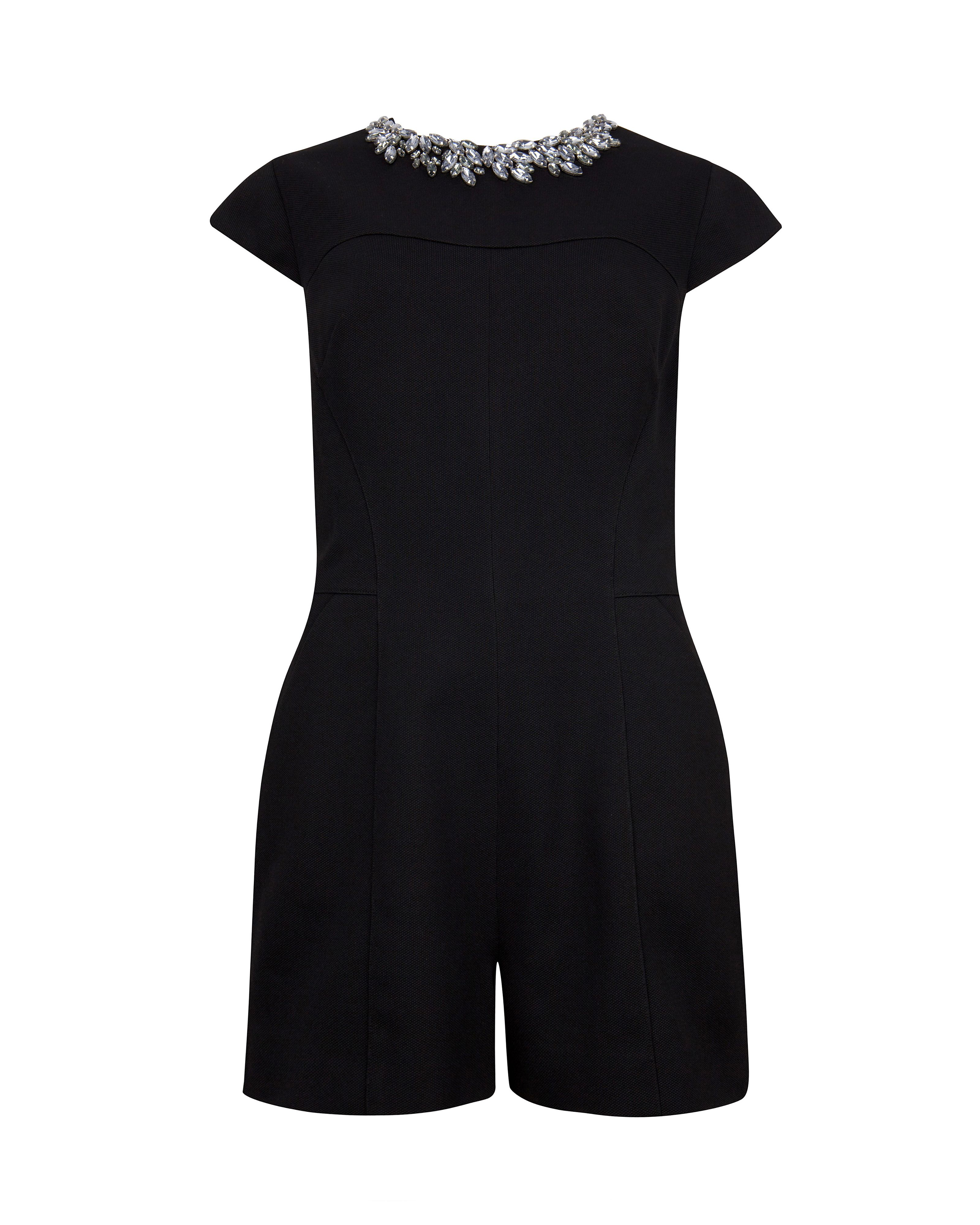 Evelin embellished neck playsuit
