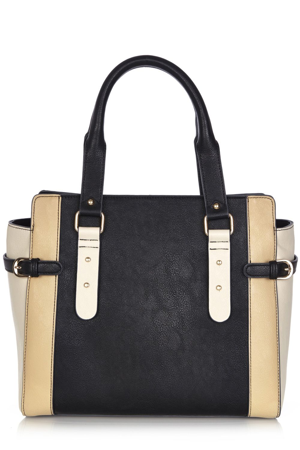 Double buckle colour block tote bag
