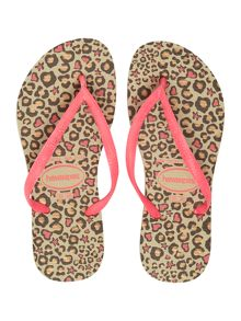 Girls animal print flip flop
