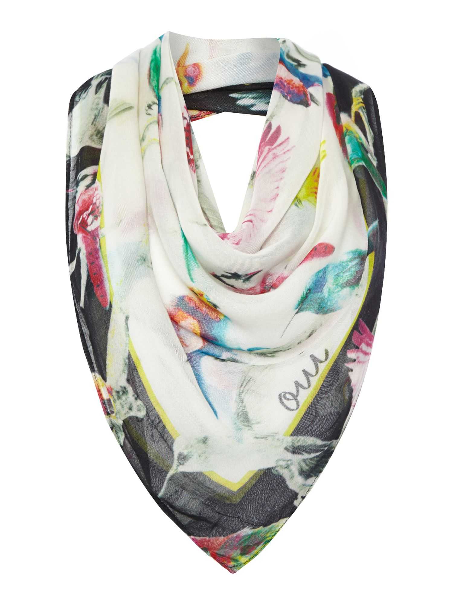 Bird print multi-coloured scarf