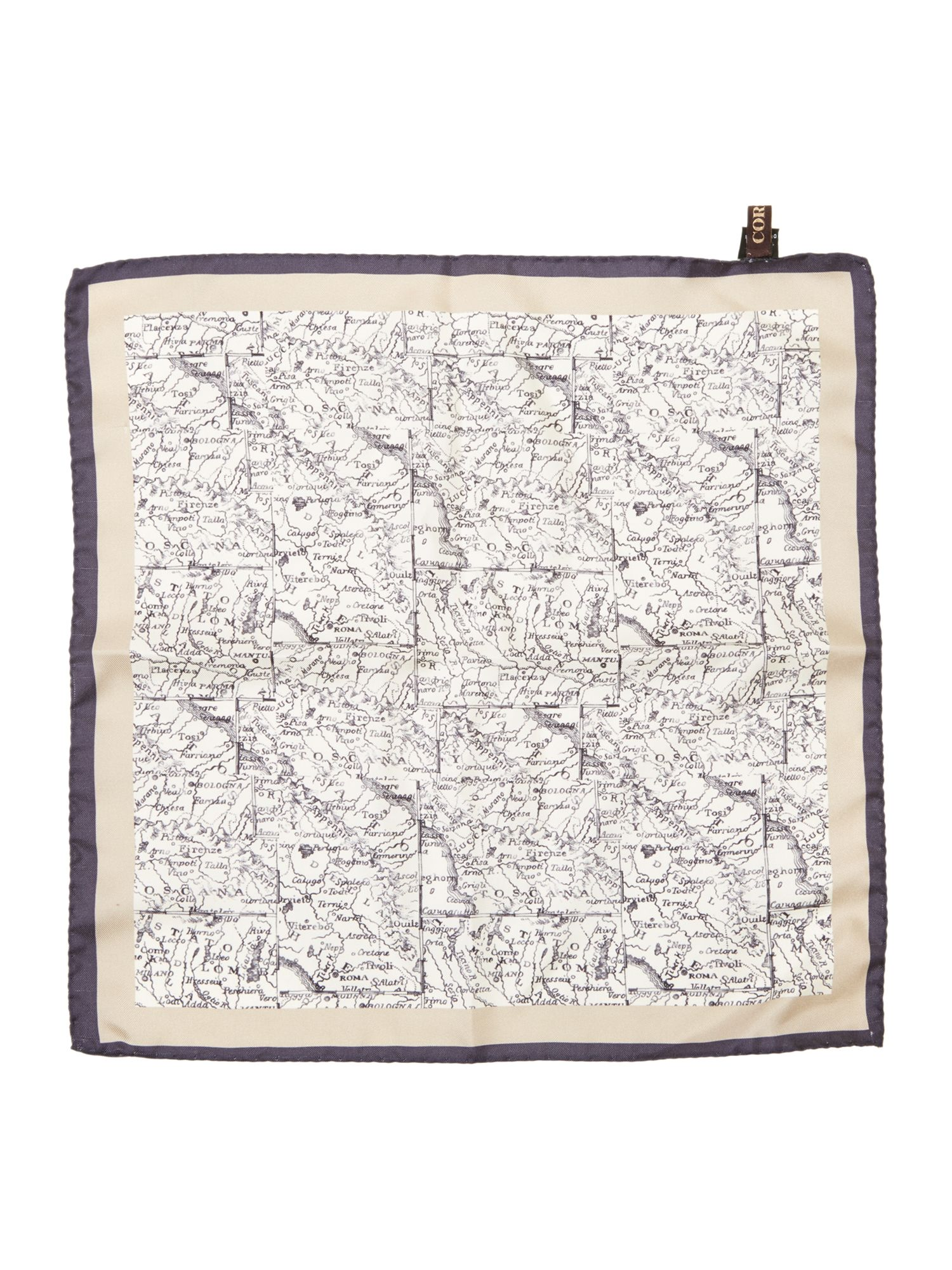 Oronzo map detail silk pocket square