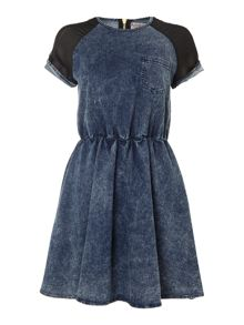 Denim dress with sheer sleeves