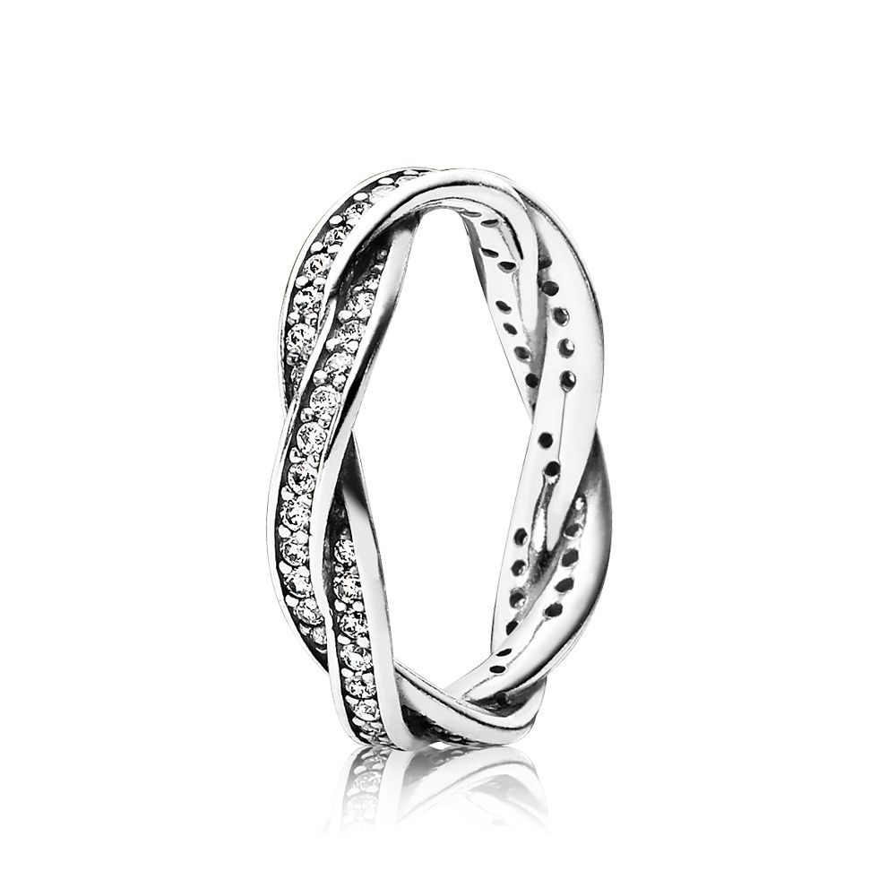 Braded pave silver ring with cubic zirconia