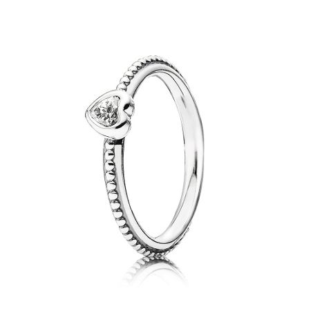 Pandora Heart silver ring with cubic zirconia