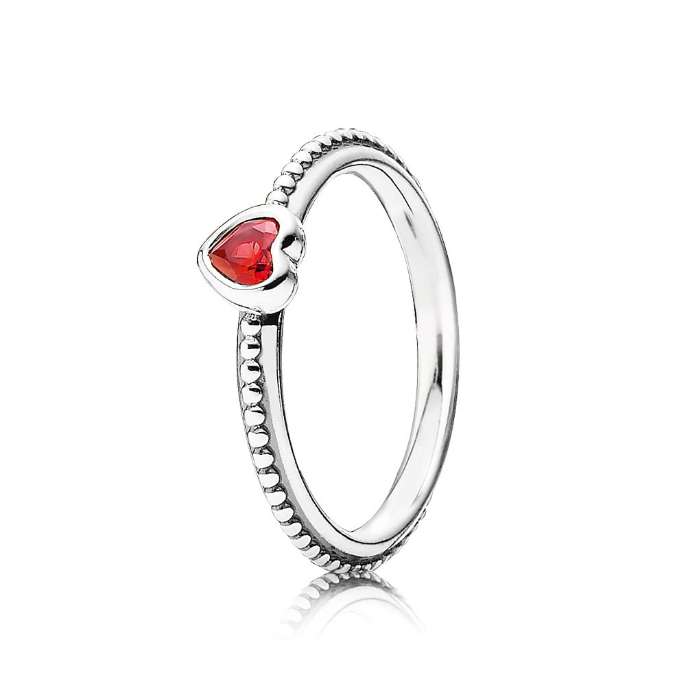 Heart silver ring with golden red synthetic ruby