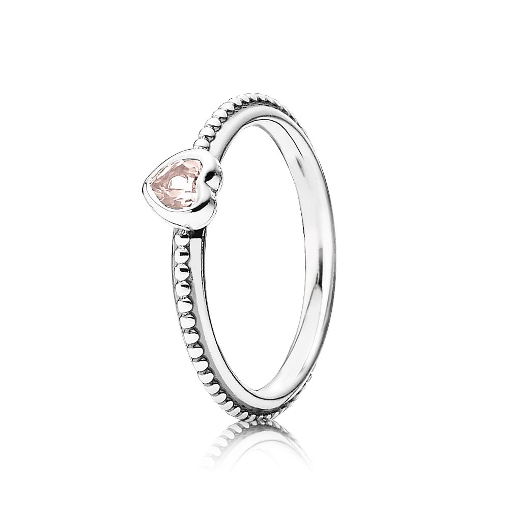 Heart silver ring with rose pink sapphire