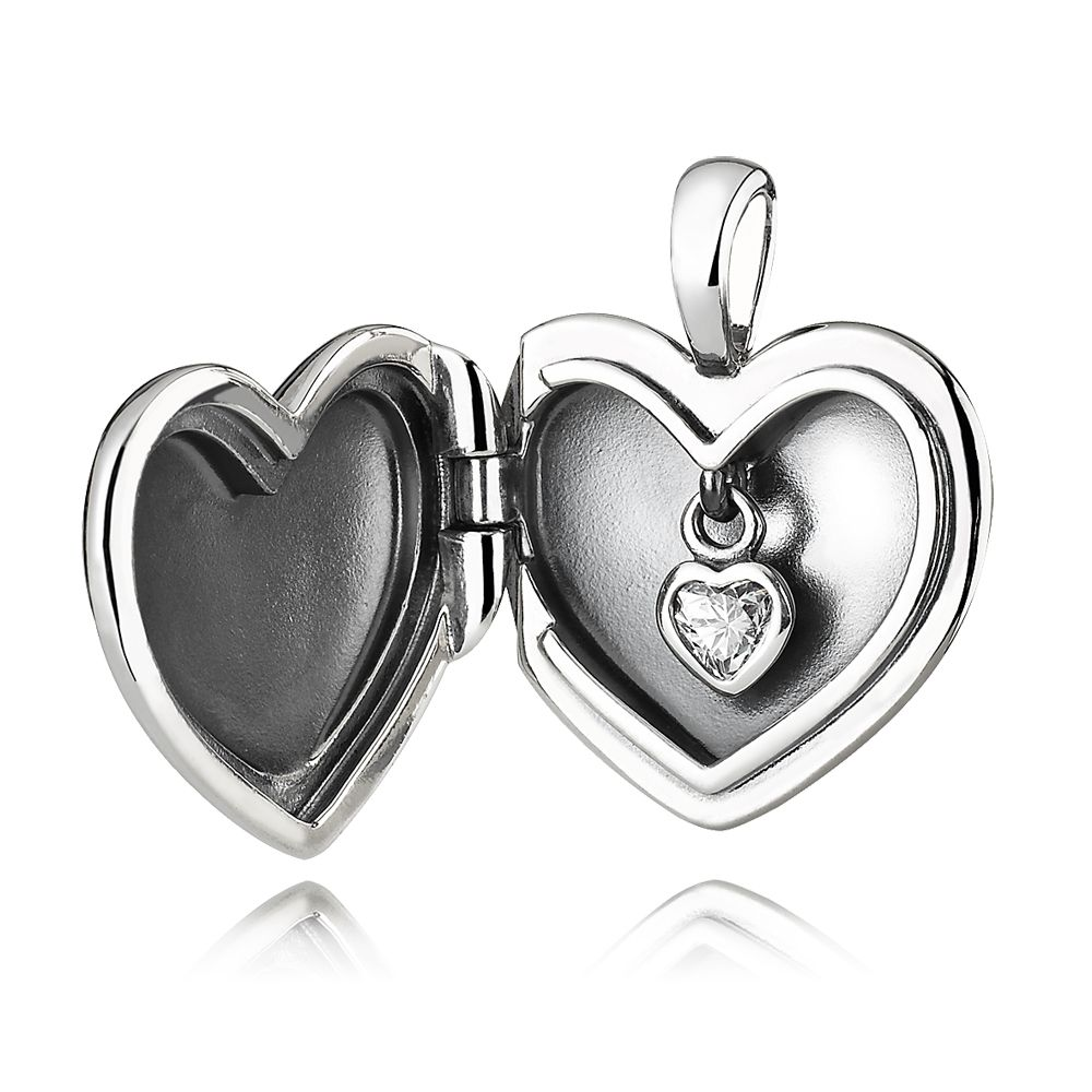 Heart silver pendant with cubic zirconia