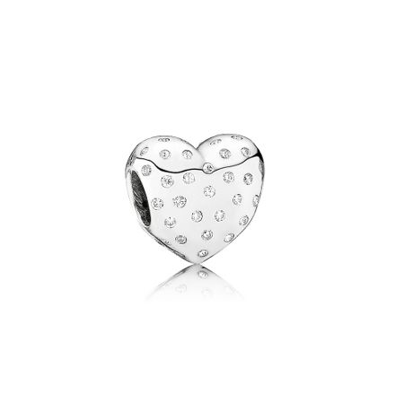 Heart silver charm with cubic zirconia