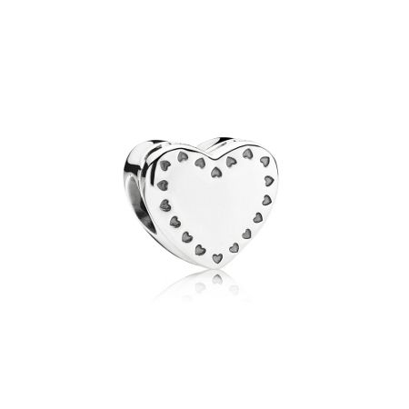 Pandora Heart gift box silver charm with 14k and cubic zi
