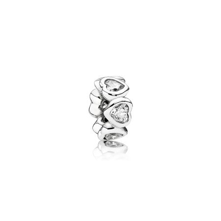 Pandora Heart silver spacer with cubic zirconia